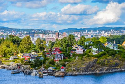 Oslo Fjord bay with colourful houses on the shore