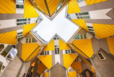 Frog's eye-view of cube houses of architect Blom in Rotterdam