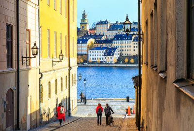 View on the water and Gamla Stan, the picteresque medieval Old Town of Stockholm