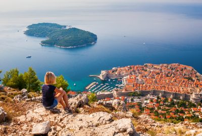 View over Dubrovnik bay and Lokrum Island at the Adriatic Sea