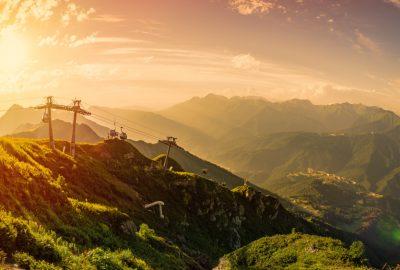 Mountainslopes in Rosa Khutor Alpine resort in Sochi