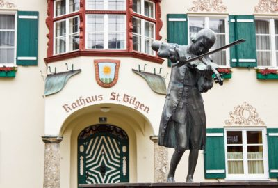 Statue of young Mozart near his museum in St. Gilgen