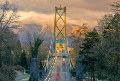 Entry to Lions Gate bridge in Vancouver