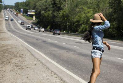 Street hooker waiting along the highway near Gdansk
