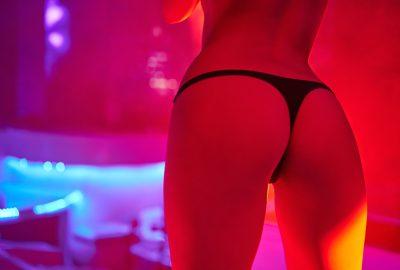 Girl doing a striptease show in FKK club in Salzburg