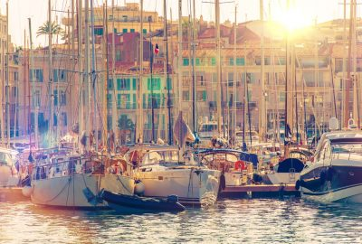 Yachts in Vieaux Port in Cannes