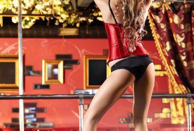Beautiful blonde dancer in Cannes striptease club