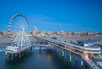 Observation wheel and Pier at boulevard of Scheveningen in The Hague