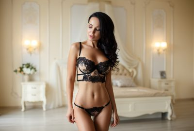 Wellington escort and brothel girl in black lingerie