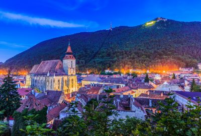 Panoramic evening view at Brasov and Tampa Mountain