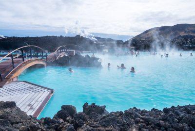 People bathing in the Blue Lagoon pool in Hreyfing Heilsulind near Reykjavik