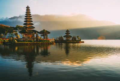 Pura Ulun Danu Beratan temple at Lake Bratan, 50 km from Denpasar