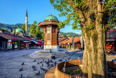 Bascarsija square and Sebilj wooden fountain in Sarajevo