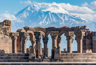 Zvartnots Temple and Mount Ararat