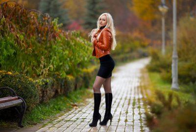 Stunning blonde Russian girl in park in Vladivostok