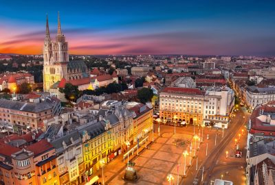 Night aerial view of Ban Jelacic Square in Zagreb