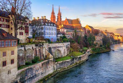 Basel Minster Basler Munster cathedral and medieval houses in Basel