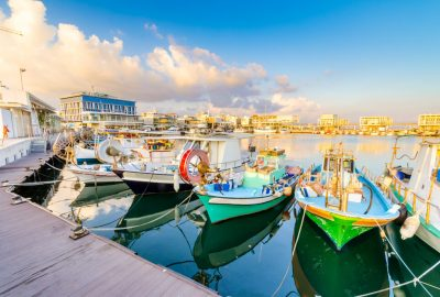 Colourful fishing boats docked at Palio Limani, Limassol's Old Port