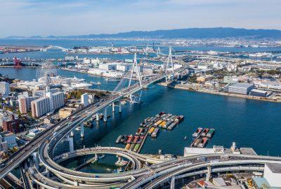 Arial view of the Port of Osaka at Osaka Bay